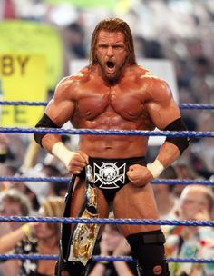 Triple H retains the WWE Championship belt after defeating Randy Orton at 'WrestleMania 25' at the Reliant Stadium on April 5 2009 in Houston Texas