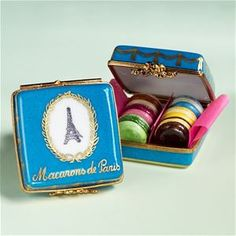 Limoges French Eiffel Tower Box with 6 Macaroons The Cottage Shop  $175