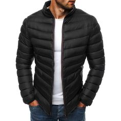 Multicolor Winter Jacket Men New Cotton Padded Thick Jackets Parka Slim it Long Sleeve Outerwear Clothing Warm Coats Mens Down Jacket, Duck Down Jacket, Jacket Men, Vest Men, Hooded Jacket, Parka, Sweat Gris, Clothes 2019, Men Clothes
