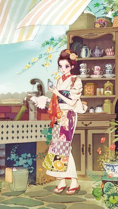 By Hiromi Matsuo Manga Anime, Manga Art, Geisha Art, Geisha Anime, Samurai, Painting Of Girl, Creative Pictures, Manga Illustration, Animes Wallpapers