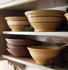 Yellowware and antique wooden bowls.  It's good!