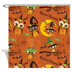 Halloween Owls 2 Shower Curtain