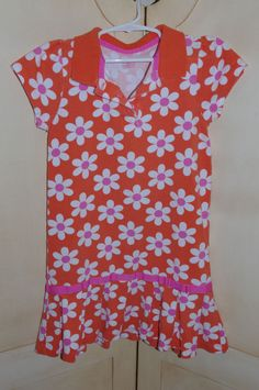 Carter's Girl's 6x Orange White Pink Floral Polo Dress~ Drop Waist~ Pleated Hem #Carters #Everyday