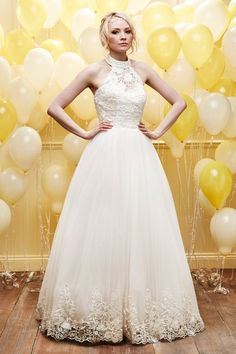Alexia Designs style D035: Halterneck gown with lace detail on skirt and corset back