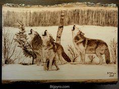 Wolves - Wood burning by brandojones on DeviantArt Wood Burning Stencils, Wood Burning Crafts, Wood Burning Patterns, Wood Burning Art, Wood Crafts, Horse Stencil, Pyrography Patterns, Got Wood, Gourd Art