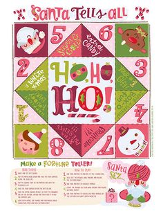 Santa Tells All fortune teller by Jill Howarth for Happy Happy Art Collective Christmas Jokes, Office Christmas, Christmas Activities, Little Christmas, Christmas Printables, Christmas Projects, Christmas Time, Xmas Crafts, Happy Art