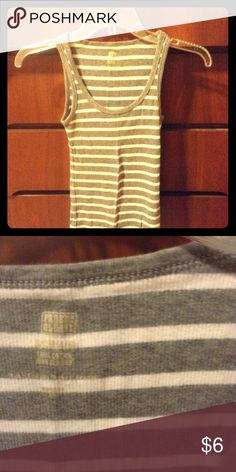 Gray and white striped tank Gray and white striped tank Faded Glory Tops Tank Tops