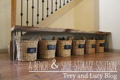 60+ Easy DIY Shoe Rack Ideas You Can Build on a Budget - Great idea of storing shoes in labelled baskets under the bench