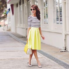 Finlay & Co Shades, Striped Top, Yellow Midi Skirt, Yellow Bag, Silver Heels