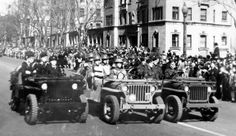 Navy, Army and Air Force Jeep 4x4s on parade.