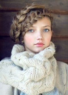 Love the scarf and of course, the hair! #hairstyles #braid #plait