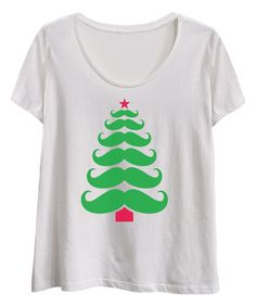 Another great find on White Mustache Christmas Tree Scoop Neck Tee - Plus by Festuvius Plus White Cotton T Shirts, White Tees, Cotton Tee, Funny Outfits, Funny Clothes, Christmas Tree Tops, Evening Tops, Mustache, Neck T Shirt