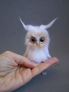 Ready to ship-Needle felted, ooak white Owl-miniature, owl.Holiday gift.Snowy Owl on Etsy, $35.43
