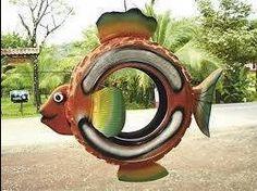Bali Garden, Tire Garden, Outdoor Art, Outdoor Plants, Garden Crafts, Garden Art, Tired Animals, Tire Playground, Tire Craft