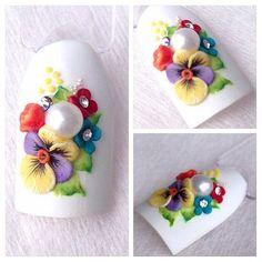 nails art, design nails manicure, объемный дизайн ногтей, стильный маникюр со цветами, нейл арт