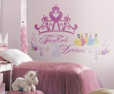 Every little princess needs a crown, and these wall decals will give you exactly that! Bring the beauty and elegance of Disney Princess into your little girl's room with these removable stickers, including a giant crown, flowers, and your favorite Princess characters. A perfect compliment to our beautiful Disney Princess wallpaper, castle, carriage, and giant Princess wall decals!