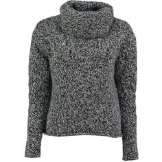 Black marl virgin wool roll neck jumper by lowie ($239) ❤ liked on Polyvore featuring tops, sweaters, loose sweater, chunky sweater, roll top, loose long sleeve tops and cut loose tops