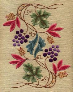 Beauty Japanese Embroidery Crewel Kit Grapevine And Pippins Crewel Embroidery Kit - Bordado Jacobean, Crewel Embroidery Kits, Embroidery Needles, Learn Embroidery, Japanese Embroidery, Embroidery Patterns, Embroidery Supplies, Embroidery Books, Flower Embroidery