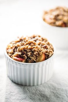 Five Minute Single Serving Apple Crisp with an oat, pecan, and coconut oil topping. Wholesome and delicious! Single Serve Desserts, Köstliche Desserts, Healthy Desserts, Delicious Desserts, Dessert Recipes, Yummy Food, Mug Recipes, Sweet Recipes, Cooking Recipes