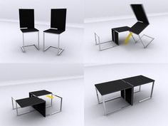 """The """"Table Chair"""", by Joel Hesselgren, uses a notched, slot-together design for the transformation into 1980s executive lounge coffee table."""