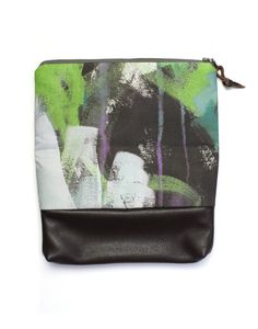Wellspring foldover clutch bag in purple and green // painterly fabric designed by megan auman // clutch handmade by eclu