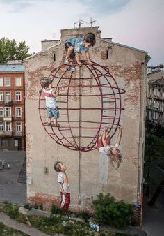 street art (Warsaw, Poland) - by Ernest Zacharevic