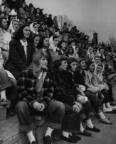 Crowd at a high school football game, 1944. - Imgur