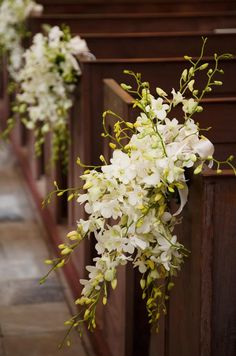 Branches of dendrobium orchids are tied with white satin ribbons at the end of each pew.