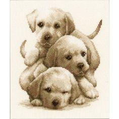 Borduurpakket+van+drie+kleine+labrador+pups+in+sepia+kleuren.