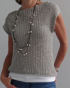 Free Knitting Pattern for Mimic Pullover - Shorter sleeved drop shoulder sweater. Free Knitting Pattern for Mimic Pullover - Shorter sleeved drop shoulder sweater that can be worn by itself or layered. Summer Knitting, Easy Knitting, Crochet Summer, Summer Sweaters, Sweater Knitting Patterns, Knitting Sweaters, Knit Patterns, Sewing Patterns, Easy Patterns