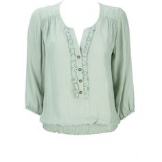 Mint Ruffle Chambray Blouse ($35) ❤ liked on Polyvore featuring tops, blouses, shirts, t-shirts, women, ruffle blouse, green shirt, mint green blouse, shirts & blouses and ruffled shirts blouses