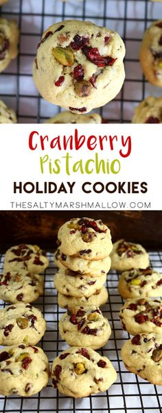 Holiday cookies packed full of cranberries and pistachios!