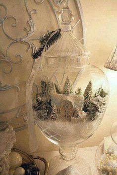 snow village in apothecary jars