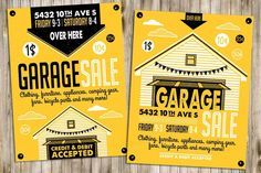 Garage or Yard Sale with signs, box and household items. Vintage printable poster or banner template. Comes as grouped PSD, file and Jpg. Business Brochure, Business Card Logo, Banner Template, Flyer Template, Poster Templates, Luxury Garage, Custom Flyers, Sale Flyer, Household Items