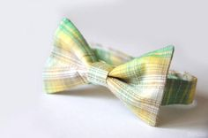 Baby boy bowtie Boys tartan bowtie Green bow tie Green and yellow bow tie Toddler bow tie Infant bow tie Ring bearer bow tie Wedding bow tie