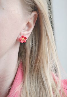 Earrings Forget me not red