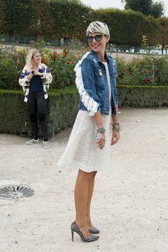 Elisa Nalin gave us denim jacket envy. | Très Chic! The Best Street Snaps at Paris Fashion Week | POPSUGAR Fashion