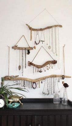 Driftwood Jewelry Display Wall Mounted Jewelry Organizer Necklace Hanger Jewelry Holder/Set or Single/bohemian decor boho decor organization by doreen.m