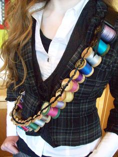 Love the spool bandolier! A Bandoleer of Spools by TheCheshiresHat on Etsy.