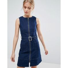 Pepe Jeans Penelope Denim Zip Through Belted Dress (£60) ❤ liked on Polyvore featuring dresses, navy, denim dresses, blue print dress, denim ruffle dress, blue pattern dress and belted dress