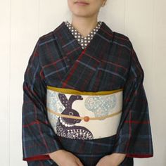 Tsumugi Kimono&Rabbit Obi Yukata Kimono, Kimono Outfit, Kimono Fabric, Kimono Fashion, Fashion Outfits, Japanese Outfits, Japanese Fashion, Kabuki Costume, Traditional Japanese Kimono