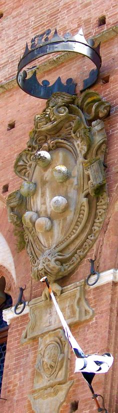 Medici Family Crest / Medici Coat of Arms,Palazzo Pubblico,Sienna,Italy