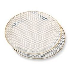 Printed 6in Porcelain Appetizer Plate Set of 2 White/Gold - Threshold™ : Target