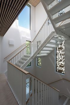 Nieuwe+Park+Rozenburgschool+/+KCAP+Architects&Planners, stair, wood handrail, wood ceiling, animal sunscreen, steel stringers with bolted on risers
