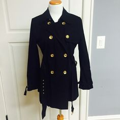 Michael Kors NEW Canvas Coat Gorgeous canvas coat with gold metal buttons. Beautiful detailing. Comes with belt. Extra Button. Michael Kors Jackets & Coats