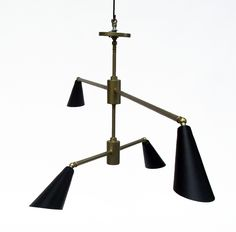 Lighting Ideas  | Make a Large Footprint | Black and Brass | Metal Shades | Simply Chic | Mobile Inspired | Custom Made by iWorks