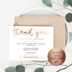 gold foil and blush branding packaging cards for online shop owners and etsy sellers