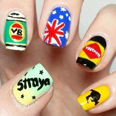 Australia Day Nails via The Nail Trail   instagram.com/thenailtrail