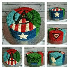 Avengers buttercream cake