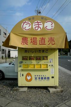 Fresh egg vending machine farm stand. たまご 農場直売